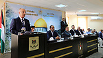 Palestinian Prime Minister Rami Hamdallah speaks during a meeting with security chiefs in the West Bank city of Salfit on July 22, 2017. Photo by Prime Minister Office