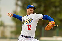 Rancho Cucamonga Quakes starting pitcher Andrew Sopko (12) delivers a pitch to the plate against the Modesto Nuts at LoanMart Field on May 2, 2018 in Rancho Cucamonga, California. The Nuts defeated the Quakes 11-4.  (Donn Parris/Four Seam Images)