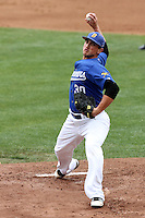 Martin Medina #30 of the Cal. St. Bakersfield Roadrunners pitches against the UCLA Bruins at Jackie Robinson Stadium in Los Angeles,California on May 14, 2011. Photo by Larry Goren/Four Seam Images