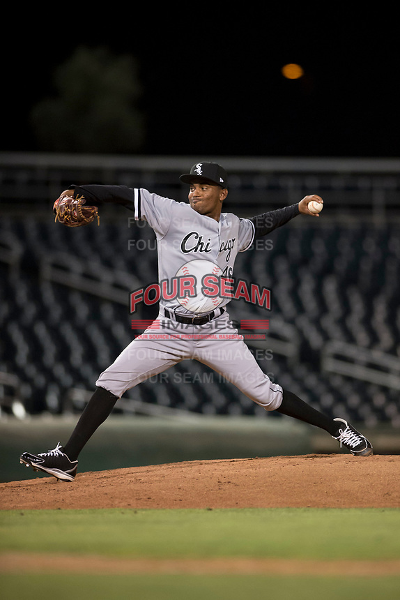 AZL White Sox relief pitcher Bryan Lara (46) delivers a pitch during an Arizona League game against the AZL Indians 1 at Goodyear Ballpark on June 20, 2018 in Goodyear, Arizona. AZL Indians 1 defeated AZL White Sox 8-7. (Zachary Lucy/Four Seam Images)
