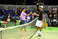 09-02-13, Tennis, Rotterdam, qualification ABNAMROWTT, Fabian van der Lans(L)  shakes hands with Rajeev Ram