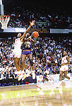 04 APR 1988:  Danny Manning (25) of Kansas drives to the bsket against Stacey King (33) of Oklahoma during the Men's Final Four Championship held in Kansas City, MO at Kemper Arena.  Kansas defeated Oklahoma 83-79 for the national title.  Photo Copyright Rich Clarkson