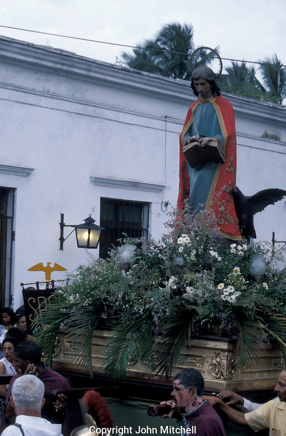 Semana Santa (Easter Holy Week) religious procession in old Santo Domingo, Dominican Republic