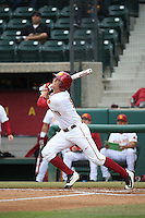 Lars Nootbaar (11) of the Southern California Trojans bats against the Mississippi State Bulldogs at Dedeaux Field on March 5, 2016 in Los Angeles, California. Mississippi State defeated Southern California , 8-7. (Larry Goren/Four Seam Images)