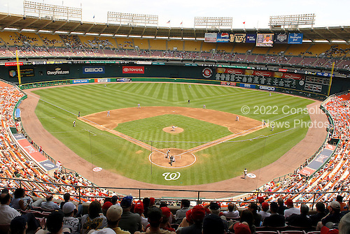 Washington, D.C. - June 7, 2007 -- Wide angle view from the upper deck looking out at the full baseball diamond of RFK Stadium from behind home plate in Washington, D.C. during the Major League (MLB) afternoon game between the Pittsburgh Pirates and the Washington Nationals on Thursday, June 7, 2007..Credit: Ron Sachs / CNP