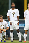 12 September 2014: Pitt's Romeo Charron (CHE). The University of North Carolina Tar Heels hosted the Pittsburgh University Panthers at Fetzer Field in Chapel Hill, NC in a 2014 NCAA Division I Men's Soccer match. North Carolina won the game 3-0.