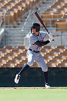 Mesa Solar Sox left fielder Daniel Woodrow (19), of the Detroit Tigers organization, at bat during an Arizona Fall League game against the Glendale Desert Dogs at Camelback Ranch on October 15, 2018 in Glendale, Arizona. Mesa defeated Glendale 8-0. (Zachary Lucy/Four Seam Images)