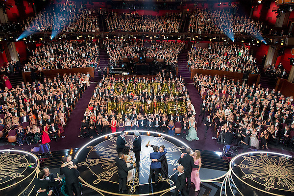 The cast and producers of &quot;Spotlight&quot; accept the Oscar&reg; for Best Motion Picture of the Year from Morgan Freeman during the live ABC Telecast of The 88th Oscars&reg; at the Dolby&reg; Theatre in Hollywood, CA on Sunday, February 28, 2016.<br /> *Editorial Use Only*<br /> CAP/PLF<br /> Supplied by Capital Pictures