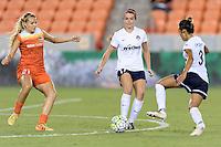 Houston, TX - Thursday Aug. 18, 2016: Melissa Henderson, Cali Farquharson during a regular season National Women's Soccer League (NWSL) match between the Houston Dash and the Washington Spirit at BBVA Compass Stadium.