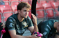 Leeds United's Patrick Bamford takes a seat on the bench<br /> <br /> Photographer Alex Dodd/CameraSport<br /> <br /> The Carabao Cup First Round - Salford City v Leeds United - Tuesday 13th August 2019 - Moor Lane - Salford<br />  <br /> World Copyright © 2019 CameraSport. All rights reserved. 43 Linden Ave. Countesthorpe. Leicester. England. LE8 5PG - Tel: +44 (0) 116 277 4147 - admin@camerasport.com - www.camerasport.com