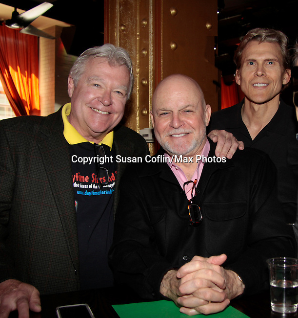 Jerry verDorn & Ron Raines  & Grant Aleksander - 11th Annual Daytime Stars & Strikes Event for Autism - 2015 on April 19, 2015 hosted by Guiding Light's Jerry ver Dorn (& OLTL) and Liz Keifer at Bowlmor Lanes Times Square, New York City, New York. (Photos by Sue Coflin/Max Photos)
