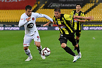 Wellington Phoenix' Nathan Burns and Western Sydney Wanderers FC's Josh Risdon in action during the A-League - Wellington Phoenix v Western Sydney Wanderers at Westpac Stadium, Wellington, New Zealand on Saturday 3 November  2018. <br /> Photo by Masanori Udagawa. <br /> www.photowellington.photoshelter.com