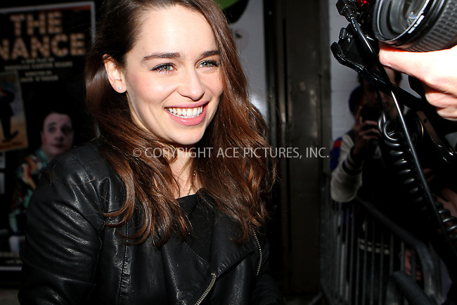 WWW.ACEPIXS.COM......April 21, 2013, New York City, NY.....Emilia Clarke exiting the building on the closing night of 'Breakfast at Tiffany's' on Broadway on April 21, 2013 in New York City...........By Line: Nancy Rivera/ACE Pictures....ACE Pictures, Inc..Tel: 646 769 0430..Email: info@acepixs.com