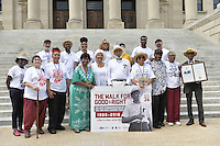 "Civil Rights icon James Meredith poses with other civil rights activist on the steps of the State Capitol to commemorate the 50th Anniversary of his historic Walk Against Fear in 1966. Meredith was shot on the second day of his walk in 1966 in Hernando MS and Dr. Martin Luther King and other major civil rights leaders of the time continued Meredith's March from Memphis to Jackson which ended at he Mississippi State Capitol on June 26, 1966 with 15,000 marchers. The Meredith March was the largest civil rights march ever in the state of Mississippi.  The Smith Robertson Museum has an exhibit all about Meredith's March called ""Am I or Am I Not  A Citizen."" and Meredith spoke and signed books at the museum before the walk to the state capitol. Photo©Suzi Altman"