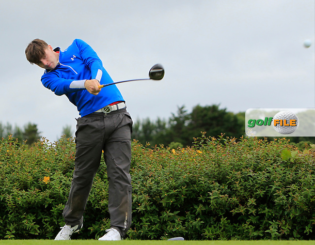 Jake Rowe (Tandragee) on the 18th tee during R1 of the 2016 Connacht U18 Boys Open, played at Galway Golf Club, Galway, Galway, Ireland. 05/07/2016. <br /> Picture: Thos Caffrey | Golffile<br /> <br /> All photos usage must carry mandatory copyright credit   (&copy; Golffile | Thos Caffrey)