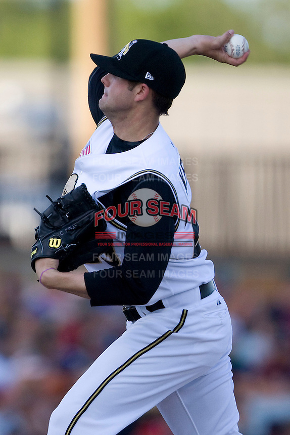 San Antonio Missions pitcher Casey Kelly #23 delivers the first pitch of the Texas League All Star Game played on June 29, 2011 at Nelson Wolff Stadium in San Antonio, Texas. The South All Star team defeated the North All Star team 3-2. (Andrew Woolley / Four Seam Images)