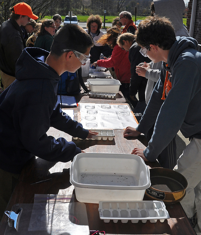 KENT, CT – 26 October 2013 - 102613LMW04 –Marvelwood School students were among the citizen scientists working Saturday to identify critters from various streams around town during the Macroinvertebrate Madness at Kent Town Hall. The event was hosted by the Kent Conservation Commission. Lynn Mellis Worthington Republican-American