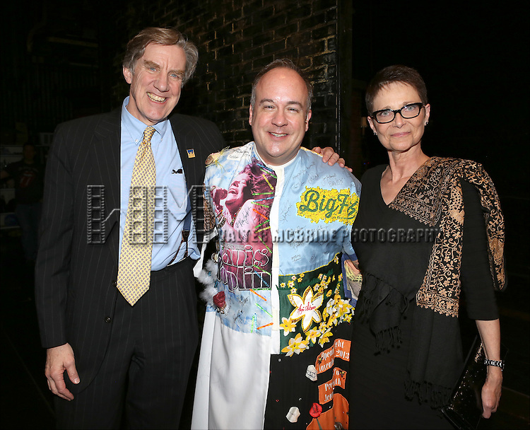 President of AEA Nick Wyman, Kevin Ligon and Executive Director of AEA Mary McColl during the Broadway Opening Night Performance AEA Gypsy Robe Ceremony honoring Kevin Ligon for ''Bullets Over Broadway' at the St. James Theatre on April 10, 2014 in New York City.
