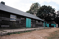 The clubhouse at Beccles Caxton FC Football Ground, Caxton Meadow, Beccles, Suffolk, pictured on 29th August 1995