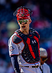 14 April 2018: Washington Nationals catcher Matt Wieters looks back to the dugout after a game against the Colorado Rockies at Nationals Park in Washington, DC. The Nationals rallied to defeat the Rockies 6-2 in the 3rd game of their 4-game series. Mandatory Credit: Ed Wolfstein Photo *** RAW (NEF) Image File Available ***