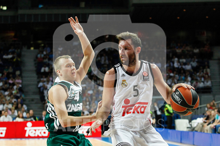 Basketball Real Madrid´s Rudy Fernandez (R) and Zalgiris Kaunas´s Lekavicius during Euroleague basketball match in Madrid, Spain. October 17, 2014. (ALTERPHOTOS/Victor Blanco)