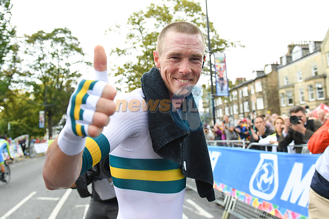 Rohan Dennis of Australia wins the Men Elite Individual Time Trial of the UCI World Championships 2019 running 54km from Northallerton to Harrogate, England. 25th September 2019.<br /> Picture: Simon Wilkinson/SWpix.com | Cyclefile<br /> <br /> All photos usage must carry mandatory copyright credit (© Cyclefile | Simon Wilkinson/SWpix.com)