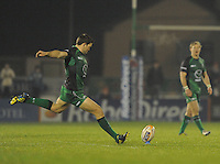 23rd November 2013; Craig Ronaldson, Connacht, kicks a penalty. Rabodirect Pro12, Connacht v Scarlets, Sportsground, Galway. Picture credit: Tommy Grealy/actionshots.ie.