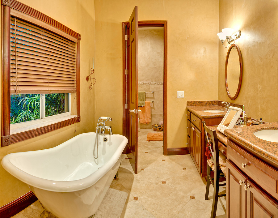 Modern bathroom and bathtub with large window,