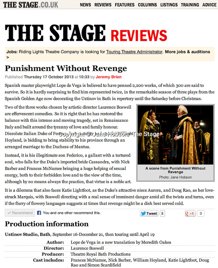 Punishment Without Revenge, Ustinov, The Stage, 17.10.13.