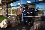 Lindores Abbey Distillery in Fife, site of the first recorded whisky distillation in Scotland, opens its doors after 500 years. Drew McKenzie Smith and his wife Helen - custodians of Lindores Abbey - unveiled the £7 million visitor centre and distillery today (Thursday, 5th October, 2017) in a ceremony opened by one of Fife's favourite sons and whisky fan, author Ian Rankin, who welcomed future generations of whisky pilgrims through the doors of the innovative new distillery. 05 Oct 2017 Lindores, Newburgh, Fife. Copyright photograph by Tina Norris. Not to be archived or reproduced without prior permission and payment. Contact Tina on 07775 593 830 info@tinanorris.co.uk www.tinanorris.co.uk http://tinanorris.photoshelter.com