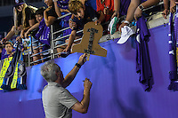 Orlando, FL - Thursday June 23, 2016: Tom Sermanni, Fans during a regular season National Women's Soccer League (NWSL) match between the Orlando Pride and the Houston Dash at Camping World Stadium.