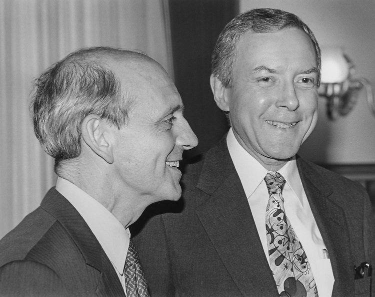 Appointed Supreme Court Justice Stephen Breyer and Sen. Orrin Hatch, R-Utah, meet on the Capitol Hill at Sen. Hatch's office, on May 19, 1994. (Photo by Chris Martin/CQ Roll Call via Getty Images)