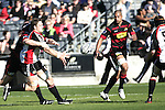 Kristian Ormsby gets his pass away to Andrew Van der Heijden during the Ranfurly Shield challenge against Canterbury at Jade Stadium on the 10th of September 2006. Canterbury won 32 - 16.