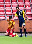 S&ouml;dert&auml;lje 2014-05-31 Fotboll Superettan Syrianska FC - &Auml;ngelholms FF :  <br /> Syrianskas Rabi Elia har ont efter en n&auml;rkamp med &Auml;ngelholms Muamet Asanovski <br /> (Foto: Kenta J&ouml;nsson) Nyckelord:  Syrianska SFC S&ouml;dert&auml;lje Fotbollsarena &Auml;ngelholm &Auml;FF skada skadan ont sm&auml;rta injury pain
