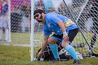 JESSE McCLURE (STORAGE HUNTERS) puts his can of Guiness to one side to start the match during the SOCCER SIX Celebrity Football Event at the Queen Elizabeth Olympic Park, London, England on 26 March 2016. Photo by Andy Rowland.