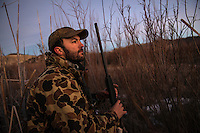 Nick Romano hunts waterfowl on the Beaverhead River near Dillon, Montana.