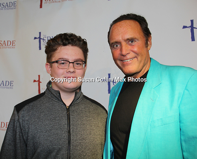 All My Children's James Kiberd with Kameron at The Crusade of Connor Stephens - One Family Under God, Divisible. on opening night at Jerry Orbach Theatre at the Snapple Theatre Center, New York City, New York on June 26, 2017. (Photo by Sue Coflin/Max Photos)