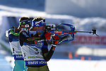 11/12/2016, Pokljuka - IBU Biathlon World Cup.<br /> France's Team with Jean Guillaume Beatrix, Quentin Fillon Maillet, Simon Desthieux, Martin Fourcade competes during the relay race in Pokljuka, Slovenia on 11/12/2016. France's Team with Jean Guillaume Beatrix, Quentin Fillon Maillet, Simon Desthieux and Martin Fourcade wins the race.