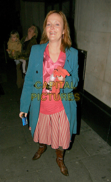 MIRANDA RICHARDSON.Cirque Du Soleil: Alegria afterparty at Roof Garden, London, UK..January 5th, 2006.Ref: SW.full length blue coat red striped stripes skirt brown boots.www.capitalpictures.com.sales@capitalpictures.com.©Capital Pictures.