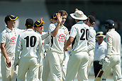 November 4th 2017, WACA Ground, Perth Australia; International cricket tour, Western Australia versus England, day 1; Aaron Hardie celebrates getting the wicket of James Vince during Englands first innings