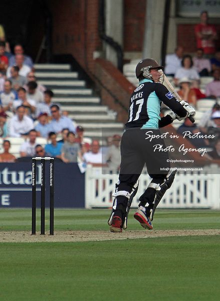 Rory Burns watches his shot go for four runs  - Middlesex CCC v Durham CCC. Yorkshire Bank 40 Group B. The KIA Oval. London. Surrey. 02/08/2013. MANDATORY Credit Robert Smith/SIPPA - NO UNAUTHORISED USE - 07837 394578
