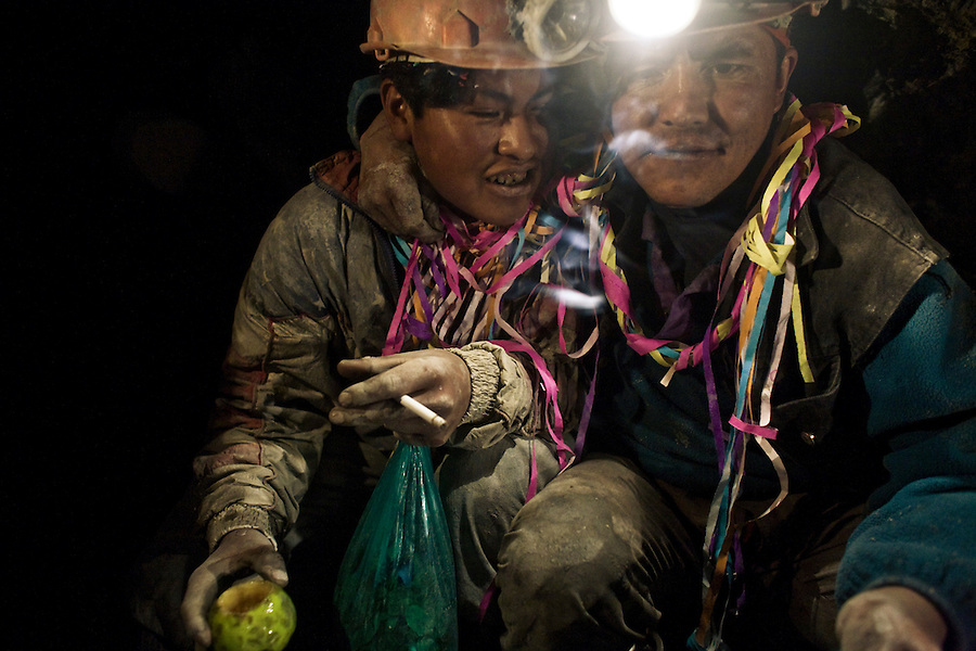 Miners of La Negra partying inside the mine on the day of Compadres.