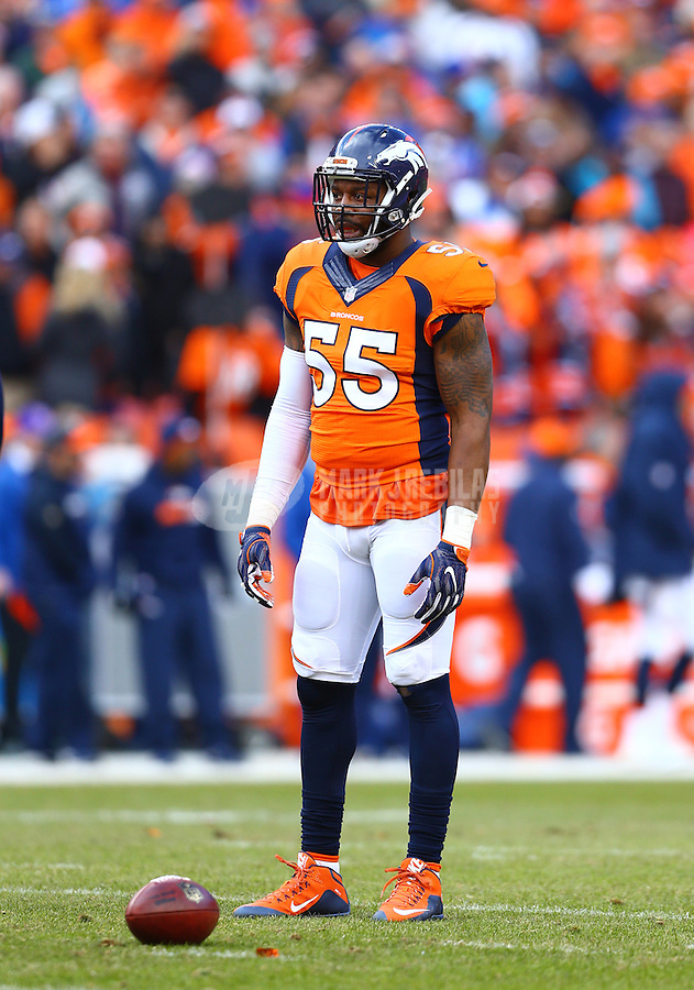 Jan 24, 2016; Denver, CO, USA; Denver Broncos linebacker Lerentee McCray (55) against the New England Patriots in the AFC Championship football game at Sports Authority Field at Mile High. The Broncos defeated the Patriots 20-18 to advance to the Super Bowl. Mandatory Credit: Mark J. Rebilas-USA TODAY Sports