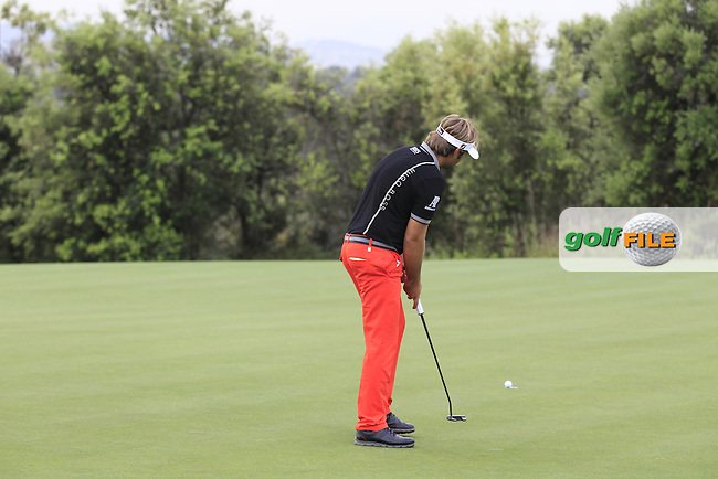 Victor Dubuisson (FRA) on the 12th green during Round 1 of the Open de Espana  in Club de Golf el Prat, Barcelona on Thursday 14th May 2015.<br /> Picture:  Thos Caffrey / www.golffile.ie