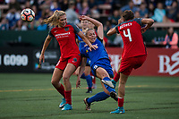 Seattle, WA - Saturday, July 1, 2017:  Emily Menges, Allie Long and Merritt Mathias during a regular season National Women's Soccer League (NWSL) match between the Seattle Reign FC and the Portland Thorns FC at Memorial Stadium.