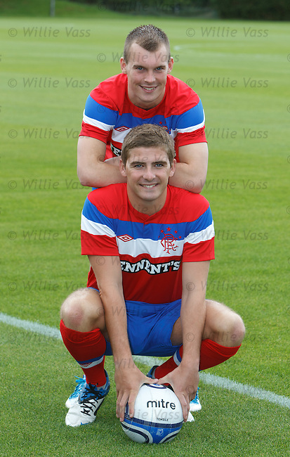 Gregg Wylde and Kyle Hutton launch the Rangers away kit at Murray Park
