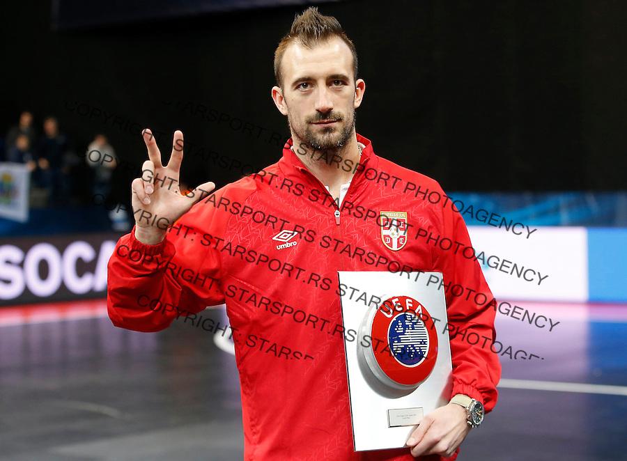 UEFA Futsal-EURO 2016<br /> Medal Ceremony-Dodela Medalja<br /> Marko Peric<br /> Beograd, 13.02.2016.<br /> foto: Srdjan Stevanovic/Starsportphoto&copy;