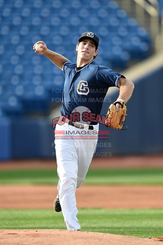 Lake County Captains third baseman Grant Fink (33) during practice before a game against the Fort Wayne TinCaps on August 21, 2014 at Classic Park in Eastlake, Ohio.  Lake County defeated Fort Wayne 7-8.  (Mike Janes/Four Seam Images)