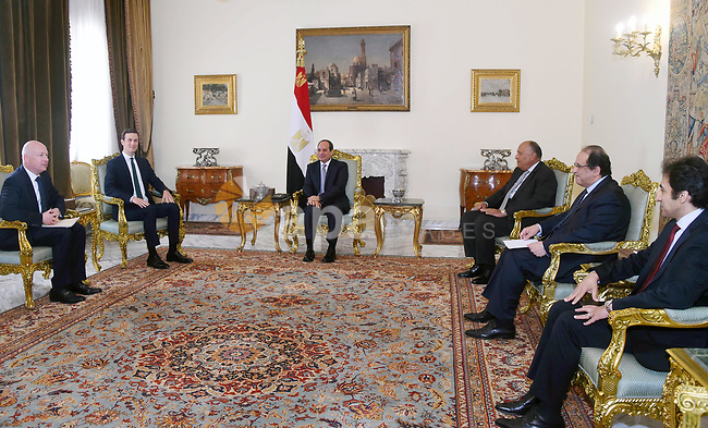 Egyptian President Abdel Fattah al-Sisi meets with White House Senior Advisor Jared Kushner, in Cairo, Egypt on June 21, 2018. Photo by Egyptian President Office