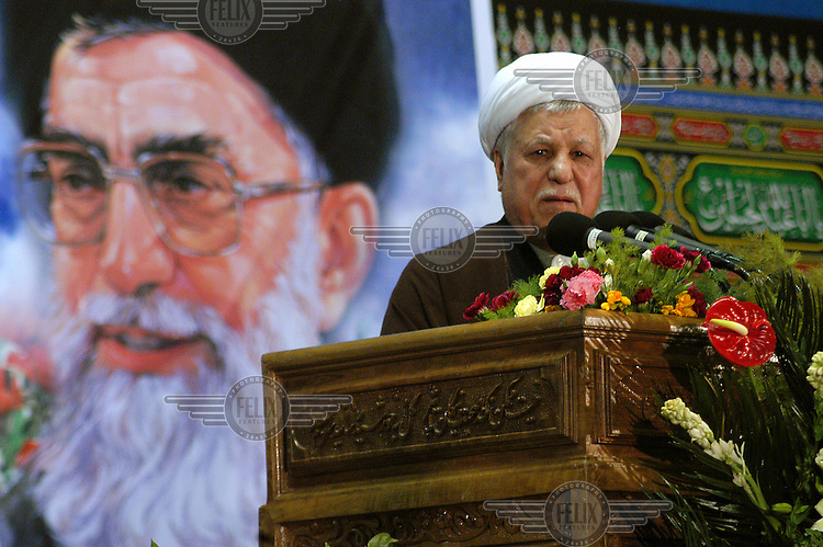 Former president Akbar Hashemi Rafsanjani makes a speech on the 28th anniversary of the Islamic revolution, outside Imam Khomeini's tomb..
